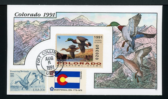 US Hand-Painted Cover by MILFORD COLORADO #2 1991 DUCK STAMP $$$