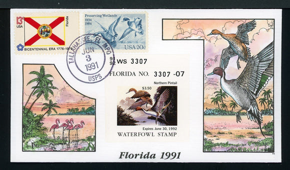 US Hand-Painted Cover by MILFORD FLORIDA #13 1991 DUCK STAMP $$$