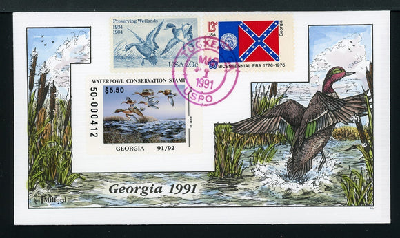 US Hand-Painted Cover by MILFORD GEORGIA #8 1991 DUCK STAMP $$$