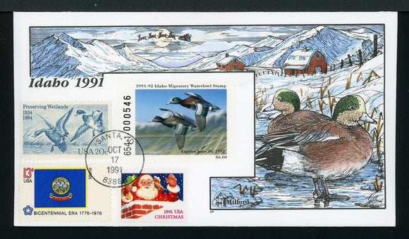 US Hand-Painted Cover by MILFORD IDAHO #5 1991 DUCK STAMP $$$