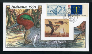 US Hand-Painted Cover by MILFORD INDIANA #17 1991 DUCK STAMP $$$