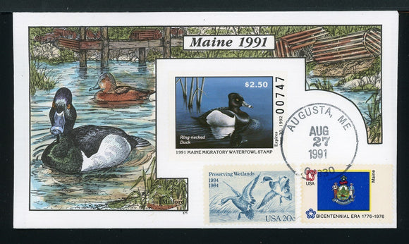 US Hand-Painted Cover by MILFORD MAINE #8 1991 DUCK STAMP $$$