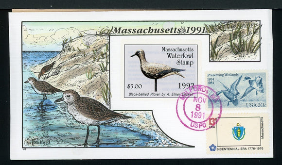 US Hand-Painted Cover by MILFORD MASSACHUSETTS #19 1991 DUCK STAMP $$$