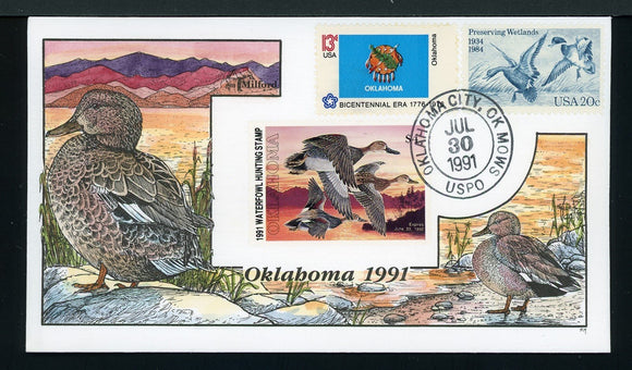 US Hand-Painted Cover by MILFORD OKLAHOMA #12 1991 DUCK STAMP $$$