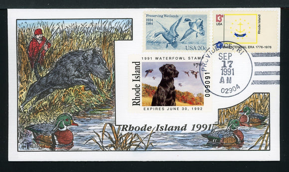 US Hand-Painted Cover by MILFORD RHODE ISLAND #3 1991 DUCK STAMP $$$