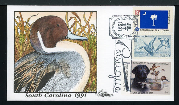 US Hand-Painted Cover by MILFORD SOUTH CAROLINA #11 1991 DUCK STAMP $$$