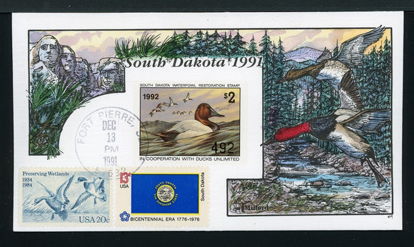 US Hand-Painted Cover by MILFORD SOUTH DAKOTA #9 1991 DUCK STAMP $$$