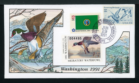 US Hand-Painted Cover by MILFORD WASHINGTON #6 1991 DUCK STAMP $$$