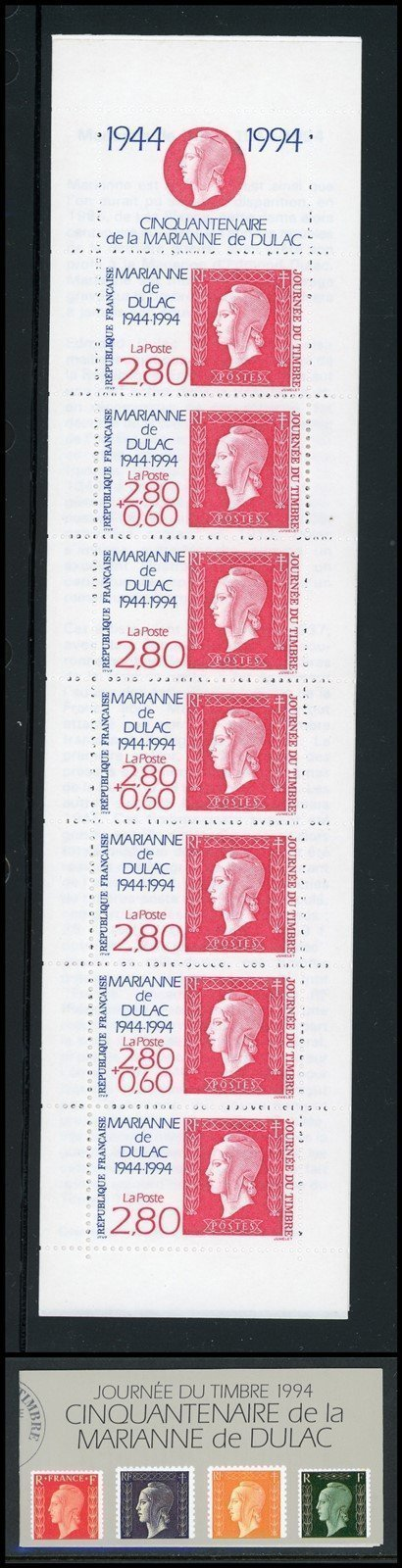 France Scott #2409a MNH BOOKLET Stamp Day Marianne de Dulac 50th ANN CV$25+