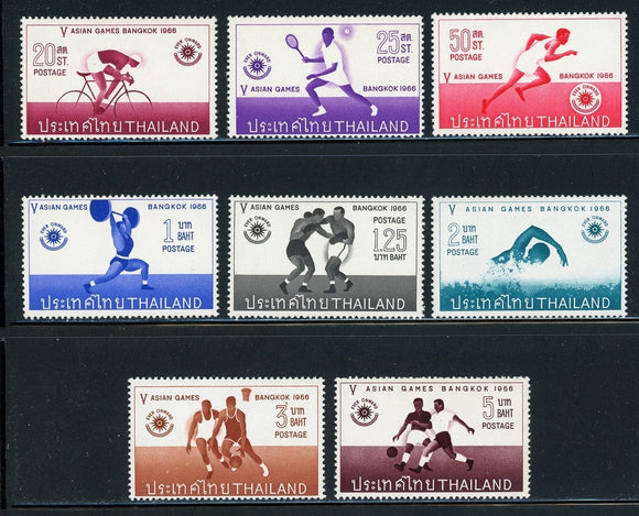 THAILAND Mostly MNH: Scott #442-449 5th Asian Games Sports Athletics 1966 CV$95+