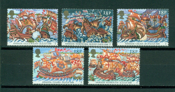 Great Britain Scott #1217-1221 MNH Defeat of the Spanish Armada CV$2+