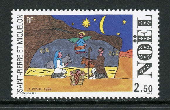 St. Pierre & Miquelon Scott #585 MNH Christmas 1992 Children's Art $$