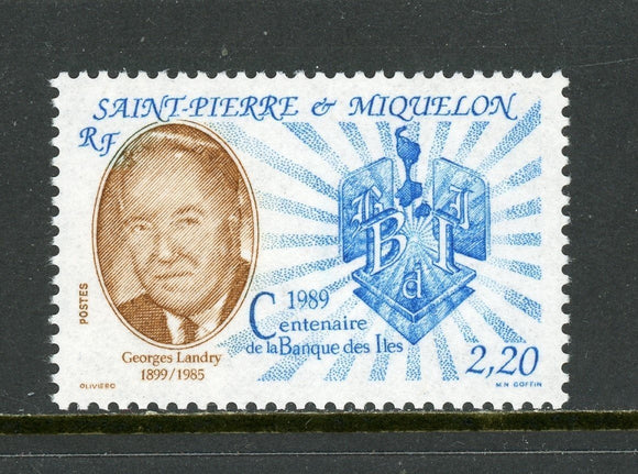 St. Pierre & Miquelon Scott #520 MNH George Landry Bank of the Islands $$