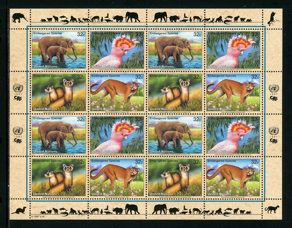T UN-New York Scott #703a MNH SHEET of 4 BLOCKS Endangered Species FAUNA CV$9+