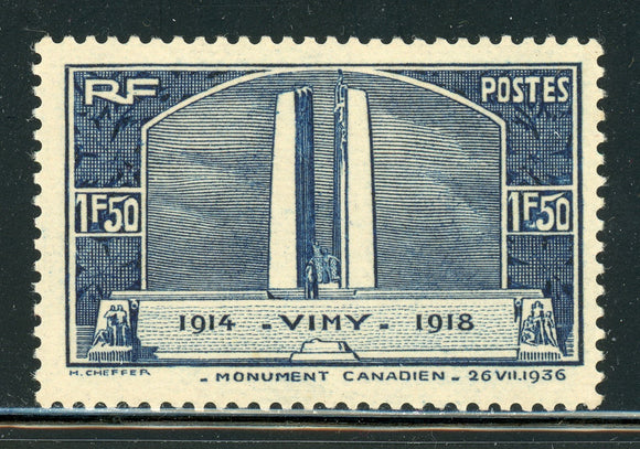 FRANCE MNH: Scott #312 1.50Fr Canadian War Memorial VIMY Ridge CV$32+