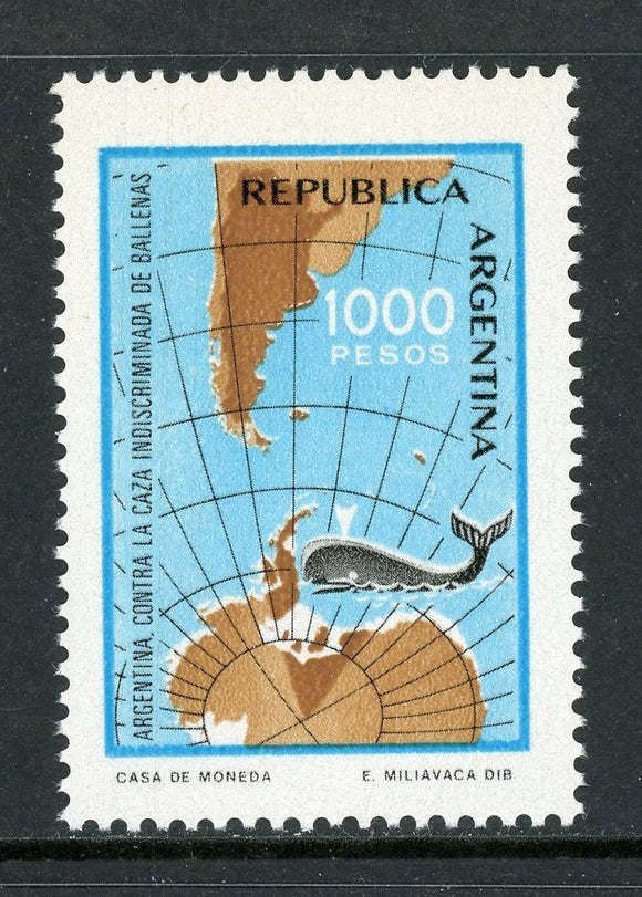 Argentina Scott #1323 MNH Anti-indiscriminate Whaling FAUNA MAP CV$6+