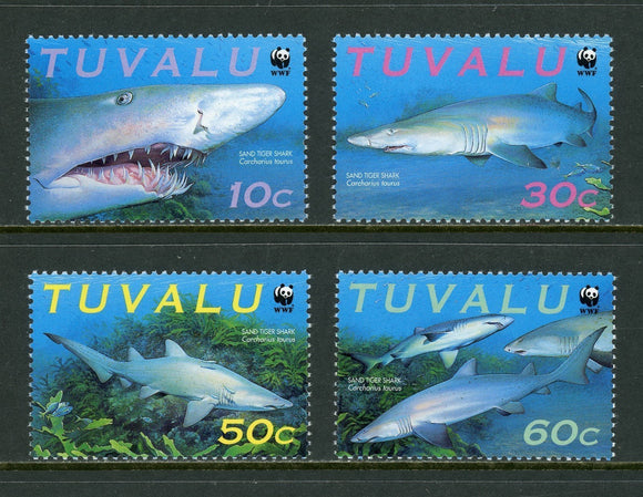 Tuvalu Scott #816a-d MVLH World Wildlife Fund Sharks FAUNA CV$3+ os1   *SEE DESCRIPTION BELOW
