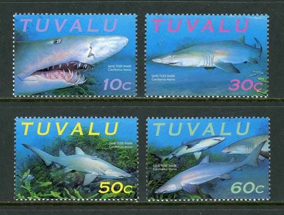 Tuvalu Scott #817a-d MNH Sharks FAUNA CV$2+ os1   *SEE DESCRIPTION BELOW