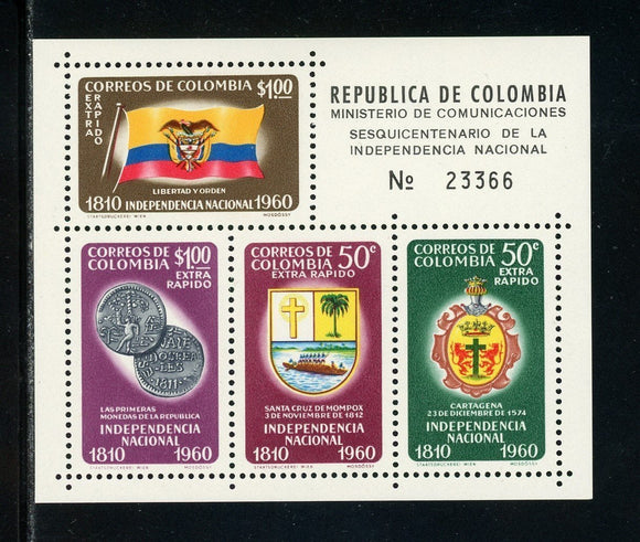 Colombia Scott #C386 MNH S/S Independence Sesquicentennial ARMS FLAG CV$7+