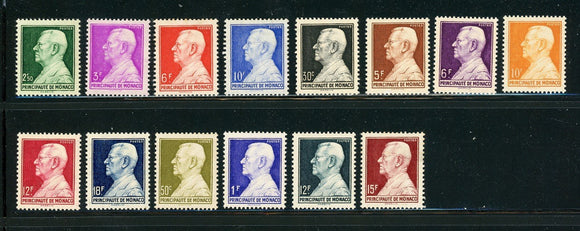 MONACO MNH: Scott #192//236 Prince Louis II Definitives 1946-1949 CV$45+