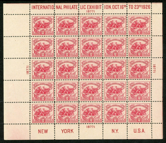 United States MNH White Plains Sheet of 25: Scott #630 2c (1926) P-18771 CV$500+