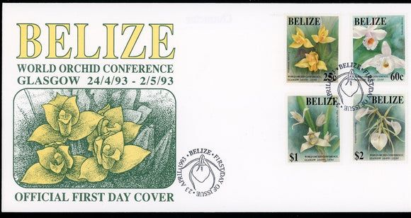 Belize Scott #1009-1012 FIRST DAY COVER World Orchid Conf. FLORA $$