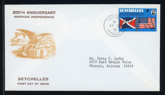 Seychelles Scott #351 FIRST DAY COVER American Bicentennial FLAGS $$