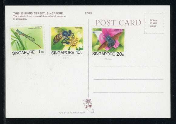 Singapore Scott #453a//456a POSTCARD Insects FAUNA $$