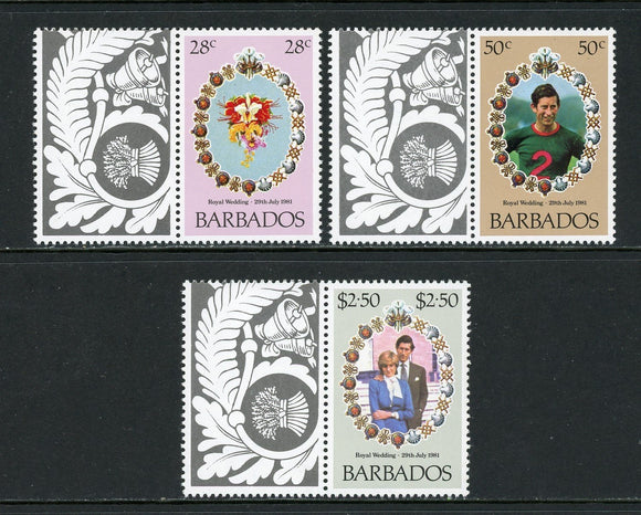 Barbados Scott #547-549 MNH w/LABELS Prince Charles Lady Diana Wedding $$ os1