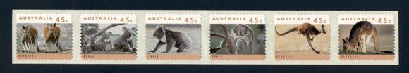 Australia Scott #1293b SA STRIP of 6 Threatened Species FAUNA CV$11+ ISH-1