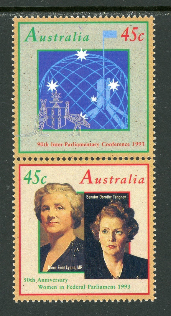 Australia Scott #1341a MNH PAIR VERT Women Legislators CV$2+ os1 ISH-1