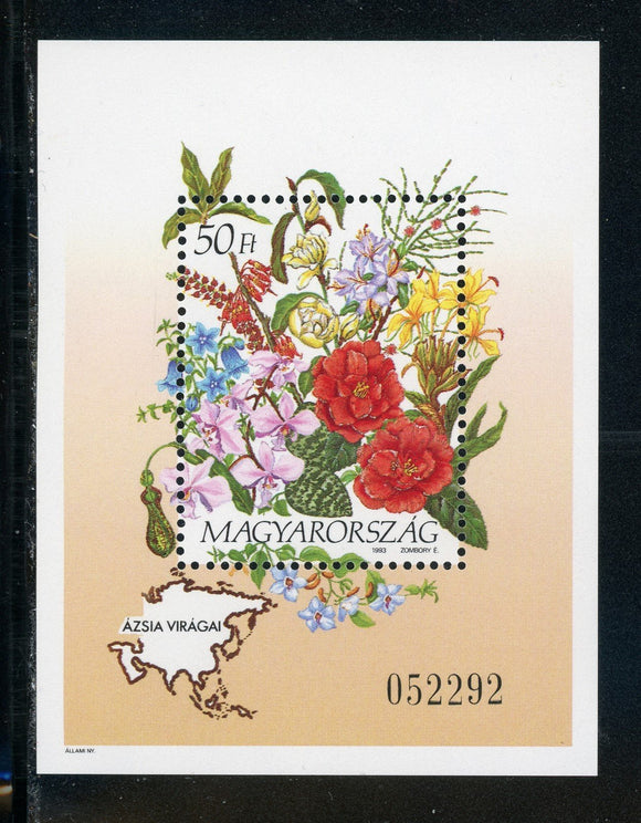 Hungary Scott #3381 MNH S/S Flora/Flowers Orchids Maps CV$11+