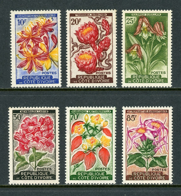 Ivory Coast Scott #184//190 MLH Flora/Flowers Orchids '1961 Issue Only CV$12+