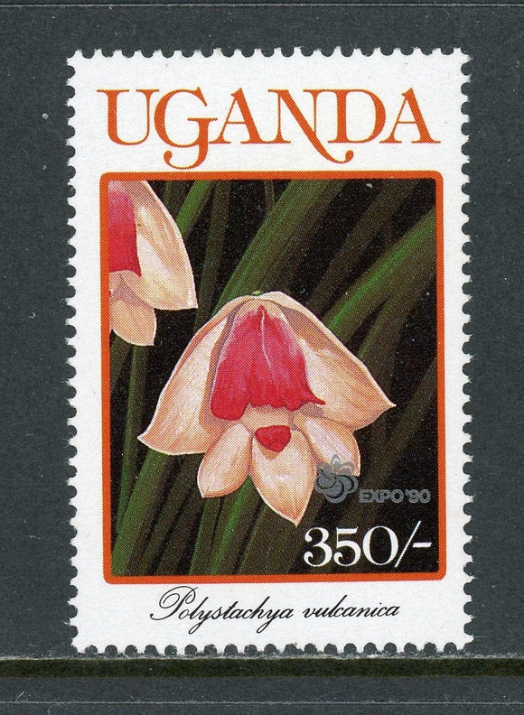 Uganda Scott #785A MNH EXPO '90 on Flora/Flowers Orchids 350sh CV$3+