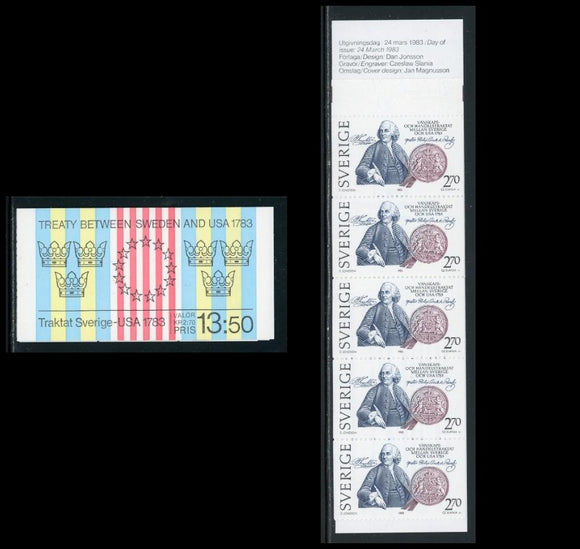 Sweden Scott #1453a MNH BOOKLET Sweden USA Treaty CV$6+ TH-1
