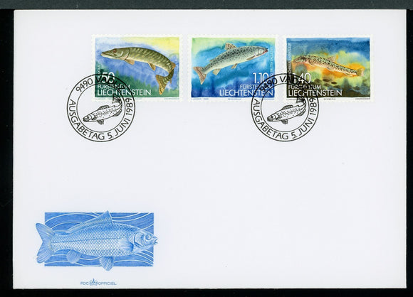Liechtenstein Scott #904-906 FIRST DAY COVER Fish FAUNA $$ TH-1