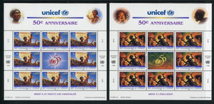 UN-Geneva Scott #294-295 MNH SHEETS of 8 UNICEF 50th ANN CV$22+ TH-1