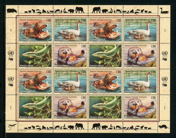 UN-Geneva Scott #355a MNH SHEET of 16 Endangered Species 2000 CV$20+ TH-1
