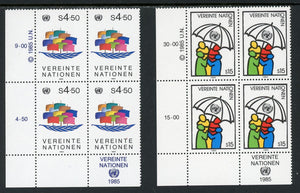 UN-Vienna Scott #50-51 MNH INSCRIPTION BLOCKS World Peace CV$9+ TH-1
