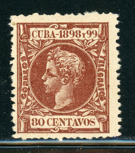 Cuba MNH Selections: Scott #173 80c Red Brown King Alfonso XIII (1898) CV$20++