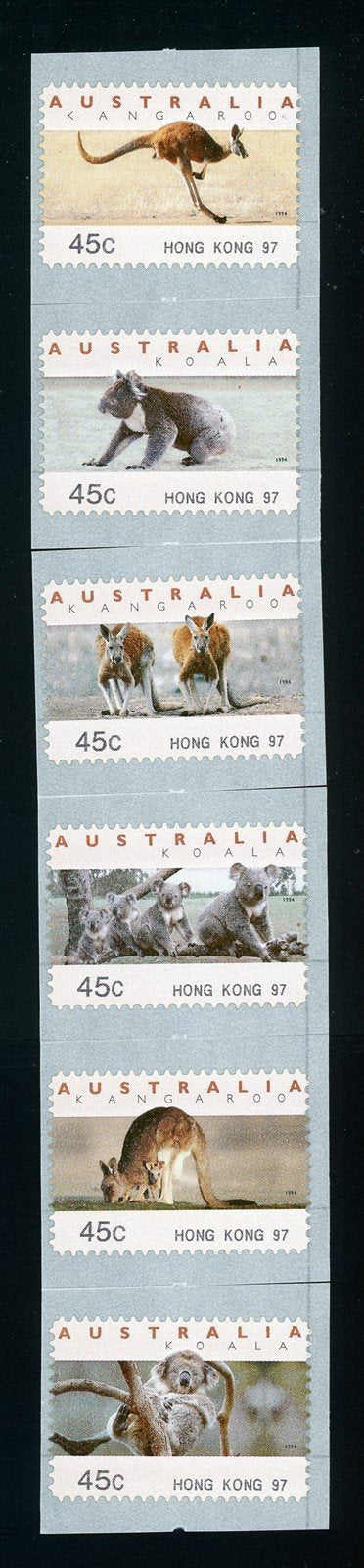 Australia Scott #1295a-10 SA COIL STAMP Animals FAUNA Hong Kong 97 CV$8+