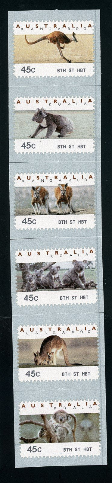 Australia Scott #1295a-11 SA COIL STAMP Animals FAUNA 8th St HBT CV$8+
