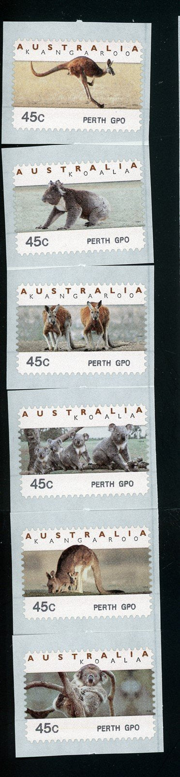 Australia Scott #1295a-8 SA COIL STAMP Animals FAUNA Perth GPO CV$8+