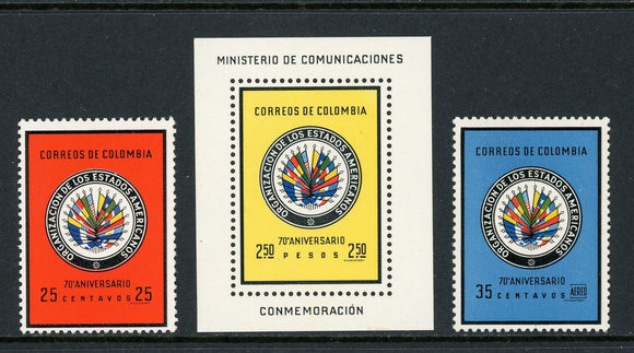 Colombia Scott #743//C433 MNH OAS 70th ANN Flags CV$6+