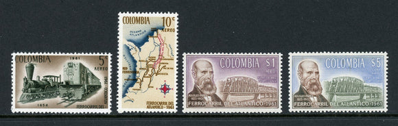 Colombia Scott #C441-C444 MNH Colombian Railroads TRAINS CV$7+