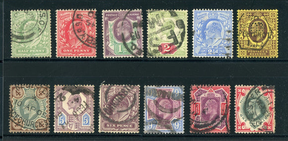 Great Britain Used KEVII: Scott #127-138 Assortment #6 CV$338+