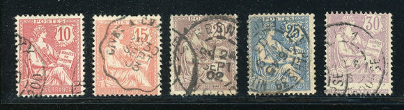 FRANCE Used: Scott #133-137 Rights of Man (1902) CV$32+