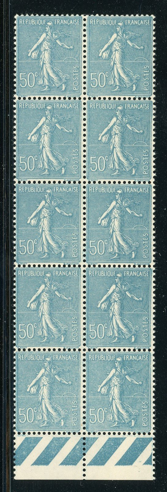 FRANCE MNH: Scott #144 50c Dull Blue Sower (1921) Block of 10 CV$625+