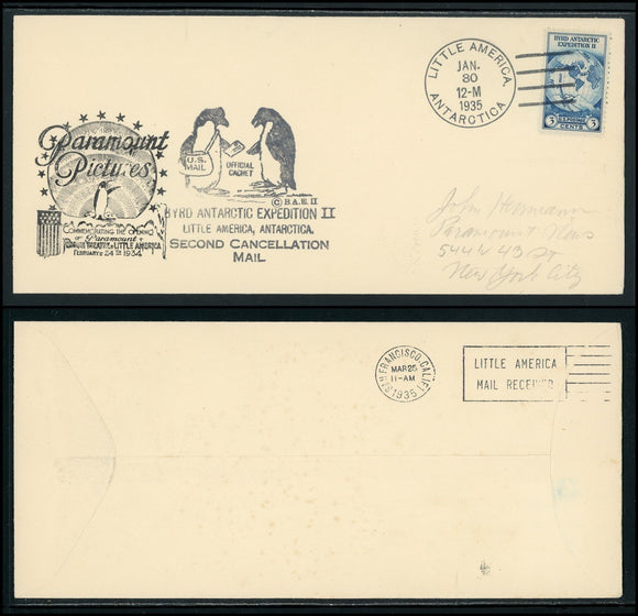 United States Scott #733 COVER Byrd Antarctic Expedition 2ND CANCEL $$ TH-1
