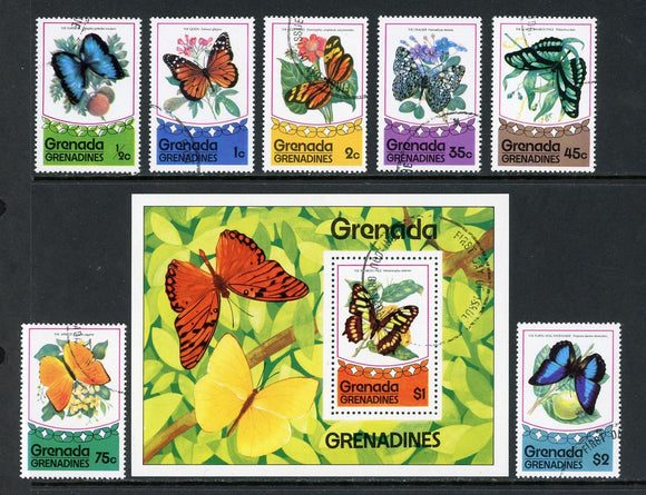 Grenada Grenadines Scott #75-82 CTO Butterflies Insects FAUNA $$ ISH-1